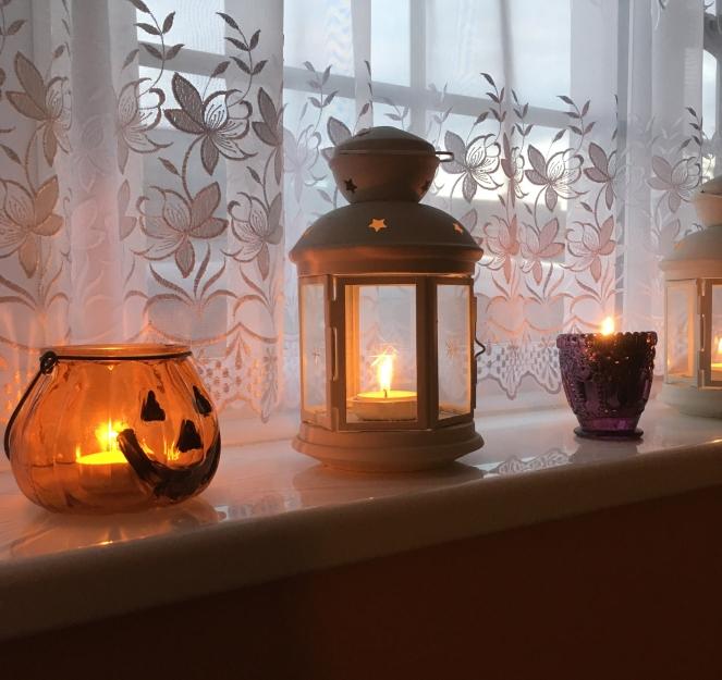 pumpkin lantern tea fairy lights autumn